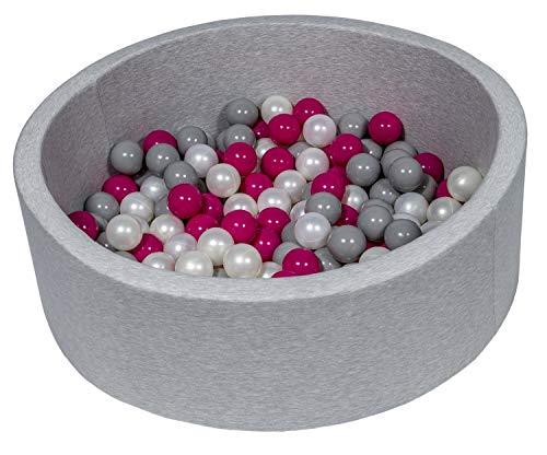Velinda Piscine a balles pour Enfant, Aire de Jeu + 150 balles (Couleurs des balles: Perle, Rose, Gris)