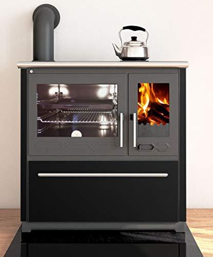 EEK A+ Küchenofen Holzherd Plamen 850 schwarz, Linke Version - 8 kW Dauerbrandherd