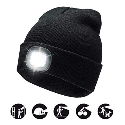 Gebreide mutsen voor heren, 4 LED's, afneembaar, voor herfst, winter, Kerstmis, vishoed, wandelhoed, oplaadbaar, licht, voor hardlopen, bergbeklimmen, kamperen