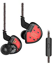 Headset KZ ES4 HiFi-armatur dynamisk hybridbas brusreducerande hörlurar (med mikrofon, svart)