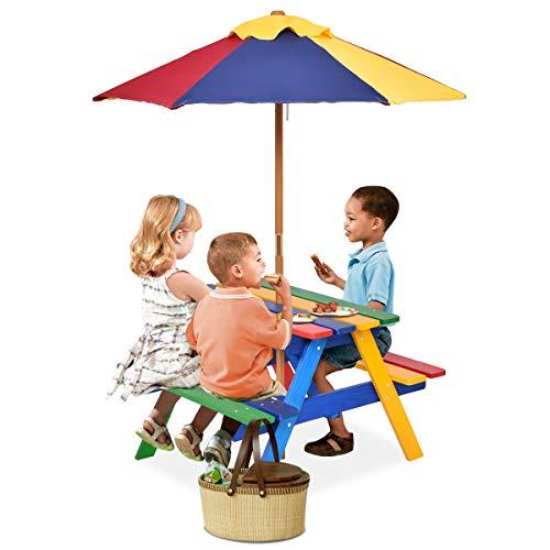 GOPLUS Kindermöbel, aus Tannenholz, Picknicktisch mit Bank für Kinder, mit Sonnenschirm, Mehrfarbige Kindersitzgruppe, für 4 Kleinkinder, Geeignet für drinnen & draußen, Garten, Balkon, Strand