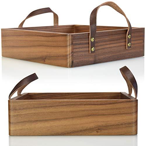 charlique Bandeja para servir – Bandeja de madera hecha a mano con borde alto – Bandeja decorativa elegante de madera maciza de nogal oscuro – con asas de piel (25,5 x 25,5 cm, 7 cm de alto)