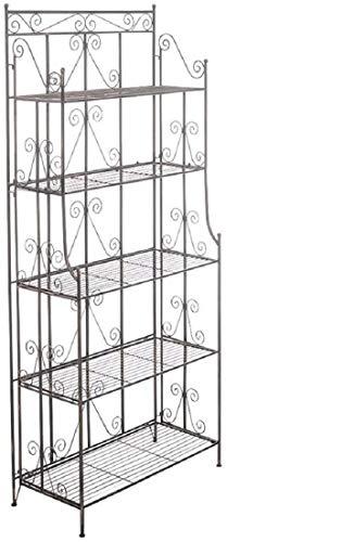 Ciara stabiles Standregal im Landhausstil I Klappbares Eisenregal mit 5 Regalböden I erhältlich, Farbe:schwarz