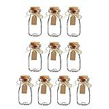 Botes Cristal Pequeños, 10 Piezas Transparente Botes Cristal Pequeños, Frascos Cristal Tapones De Corcho, con Corcho, Etiqueta y Cuerda De Yute, para Celebración De Bodas, Fiestas(100ml)