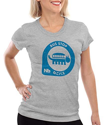 style3 Totora Parada de Gatobús Camiseta para Mujer T-Shirt mi Vecino Tonari no, Color:Gris Brezo, Talla:M