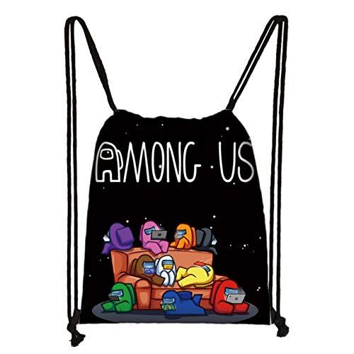 Bestomrogh Game Among Us - Bolsa de viaje con cordón, diseño de dibujos animados de la moda, mochila de poliéster, bolsa de gimnasio impermeable casual (estilo 12)