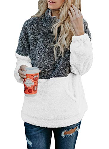 Acelitt Damen-Sweatshirt, Übergröße, flauschig, Fleece, Oberbekleidung (18 Farben, S-XXL) - - Large
