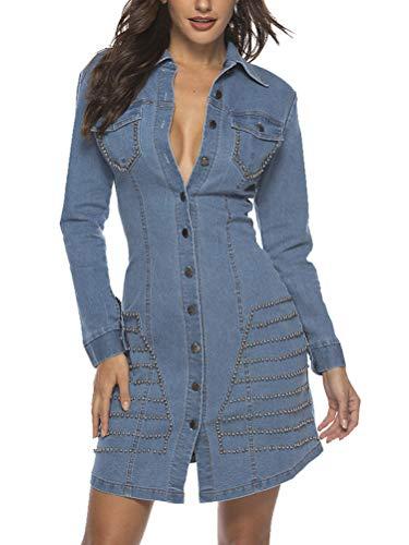 Minetow Damen Jeanskleid   Maxikleid mit Taschen   schickes Freizeitkleid - Kostüm Hellblau DE 40