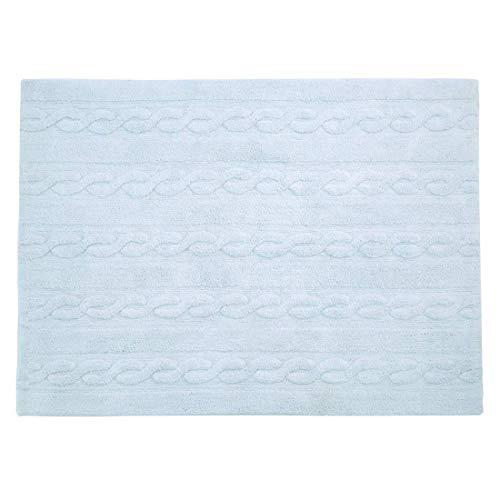 Lorena Canals Tresses Lavable Tapis, Coton, Souple, Bleu, 120 x 160 x 30 cm