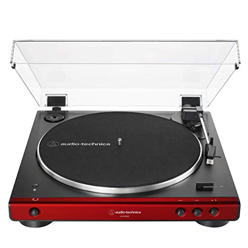 Audio-Technica at-LP60XBT-RD Fully Automatic Belt-Drive Stereo Turntable, Red/Black (Renewed)