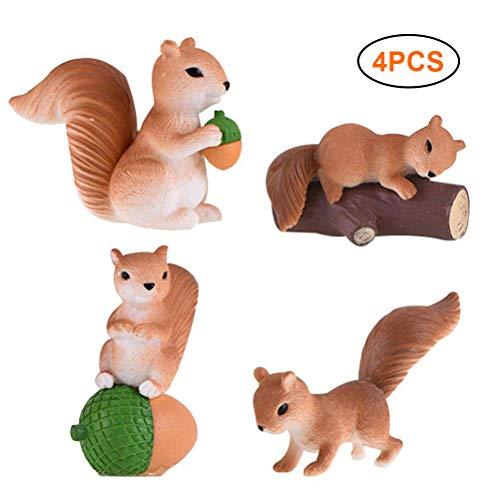 Rapoyo Mini écureuil Ornement Chiffres Jouets Bricolage Miniature fée Jardin bonsaï Ornement pour Maison de poupée Pot de Fleur décoration 4 pièces