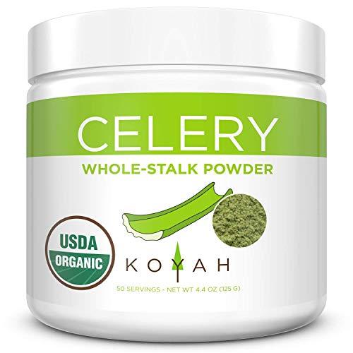 KOYAH - Organic USA Grown Celery Powder (1 Scoop = 1/2 Cup Fresh): 50 Servings, Freeze-dried, Whole-Stalk Powder