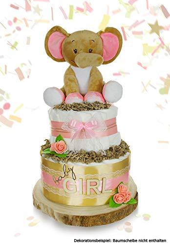 dubistda© XXL Windeltorte Mädchen LITTLE PEANUT | Elefanten Spieluhr (rosa) | 2-stöckig | Geschenk für Mädchen zur Geburt Babyparty Babyshower (Windelgröße 2 (4-8kg))