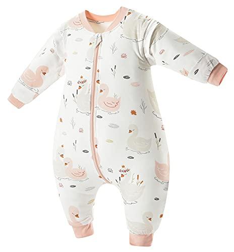 Chilsuessy Baby Ganzjahres Schlafsack mit Füßen, abnehmbar Langarm, Kinder Winter Schlafsack mit Beinen, kleinkind Schlafsäcke, Schwan/3.5 Tog, 80cm/Baby Höhe 90-100cm