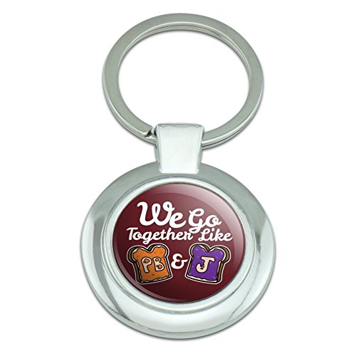 Peanut Butter and Jelly Together PB&J Best Friends Keychain Classy Round Chrome Plated Metal