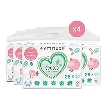 ATTITUDE Non-Toxic Diapers, Eco-Friendly, Safe for Sensitive Skin, Chlorine-Free, Leak-Free & Biodegradable Baby Diapers, Plain White, Newborn (Up to 11 lbs), 112 Count (4 Packs of 28)