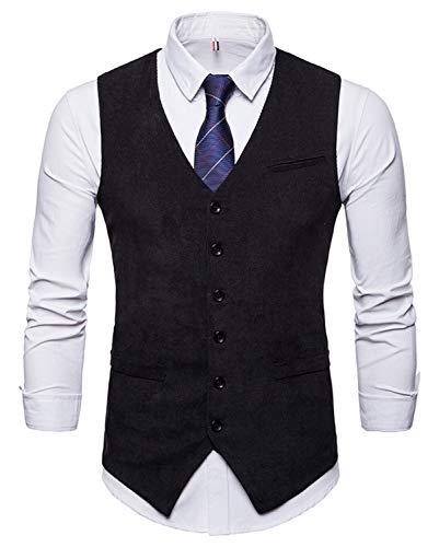 WHATLEES Herren Schmale Tweed Weste mit Zweireihige Knopfleiste, Ba0117-black, XL