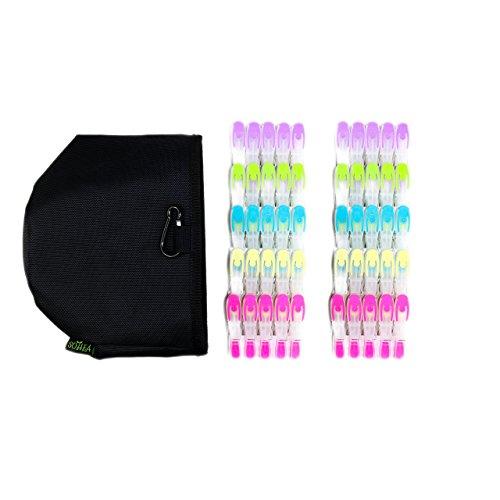 SOHFA Wäscheklammern mit Beutel - Wäscheklammerbeutel Set Wäscheklammer- Klammern aus stabilem Kunststoff- Wäscheklammerbeutel inkl. Karabiner - 50er Set