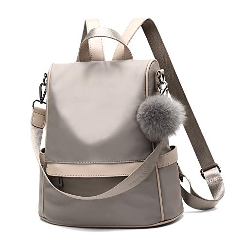 Women Backpack Purse Nylon Anti-theft Fashion Casual Lightweight Travel School Shoulder Bag(Khaki)
