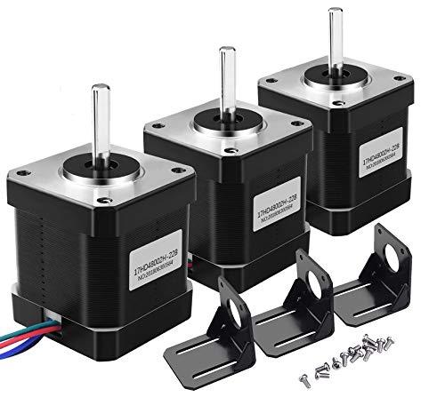 Nema 17 Stepper Motor – Motoren für 3D-Drucker 1,7 A 0,59 Nm 84 mm Body w/1 m 4 Pin Kabel und Anschluss und 3 Pack Mounting Bracket Kit für 3D Printer/CNC (3 Stück)