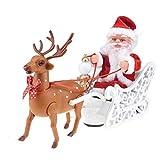 Santa Claus Doll Trineo de Juguete Coche eléctrico Universal con música Niños Niños Navidad Juguete eléctrico Muñeca Hogar Decoración de Navidad Regalos, práctico
