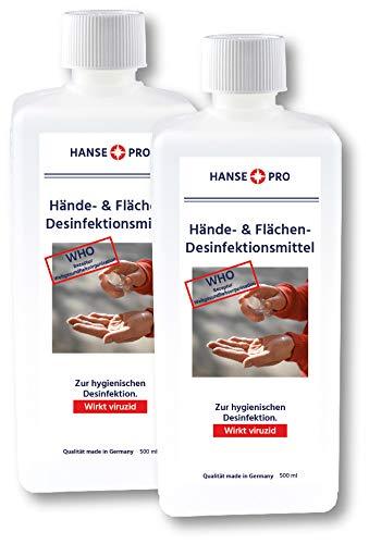 HansePro Hände- & Flächen-Desinfektions-Mittel, 2 x 500 ml I Händedesinfektion I Hygiene I für Hand, Haut und Flächen