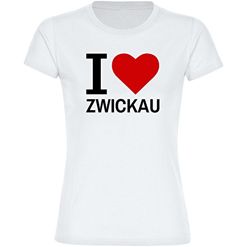 Damen T-Shirt Classic I Love Zwickau - weiß - Größe S bis 2XL, Größe:XXL