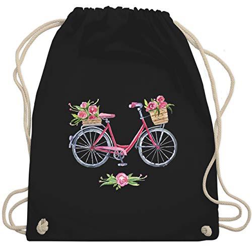 Shirtracer Vintage - Vintage Fahrrad Wasserfarbe Blumen - Unisize - Schwarz - turnbeutel fahrrad - WM110 - Turnbeutel und Stoffbeutel aus Baumwolle