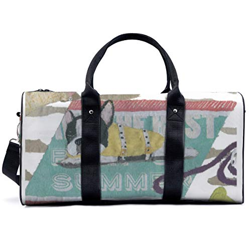 Sports Gym Bag,French Bulldog Black And White Pied Frenchie Handbag Yoga Bag Shoulder Tote Weekend Bag Travel Holdall Duffel Bag for Adult Men Women