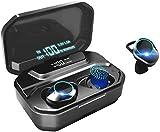 HAMTOD G02 Écouteurs Bluetooth 5.0 Écouteur sans Fil Stéréo Réduction du Bruit IPX6 TWS Léger Stéréo HiFi Micro 3300mAh Boîtier de Charge Jouer 110 Heure Contrôle Tactile, pour Android et iOS