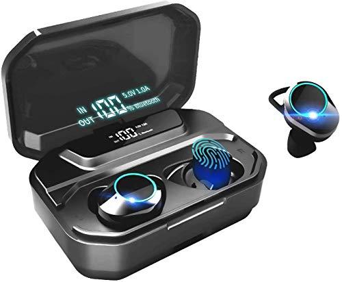 HAMTOD G02 Auriculares Bluetooth 5.0, Auriculares inalámbricos Control táctil de Audio estéreo 3D con micrófono inalámbricos Verdaderos IPX6 Mini Twins In-Ear Wireless Earbuds,Estuche de Carga 3300mAh