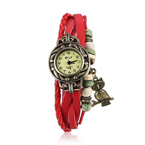 iWatch Reloj de pulsera para mujer, retro, bonito búho, correa de piel, analógico, mecanismo de cuarzo, color rojo