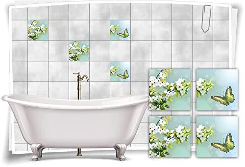 Medianlux Pegatinas para azulejos SPA Wellness, mariposa y cerezo, hojas verdes, para baño, decoración de baño, 20 x 20 cm, fp5p564q-135611