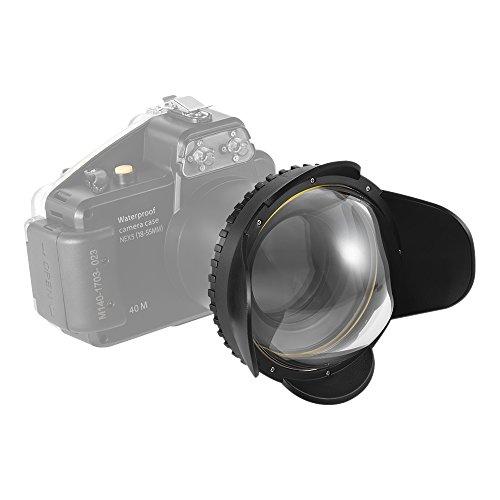 Andoer MEIKON Cámara submarina 200 mm ojo de pez gran angular cubierta de la caja del domo de la caja del ojo cubierta de la boca 60 m / 197 pies a prueba de agua adaptador redondo de 67 mm