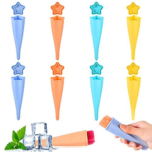 Herefun 8Pcs Molde para Helados de Silicona, Reutilizable Molde para Hacer Paletas Caseros para Niños y Adultos, DIY Popsicle Mold, Ice Cream Mold para Zumo Batido Yogur