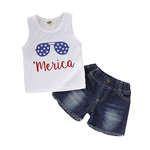None Brand - Conjunto de ropa para bebé y niña del 4 de julio con la bandera estadounidense y pantalones cortos de mezclilla, 90, 90