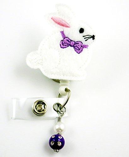Easter Bunny Purple Bow - Nurse Badge Reel - Retractable ID Badge Holder - Nurse Badge - Badge Clip - Badge Reels - Pediatric - RN - Name Badge Holder