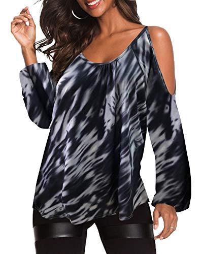 YOINS Damen Oberteile Elegant Bluse Damen Sexy Schulterfrei Herbst Langarmshirt Casual T-Shirt