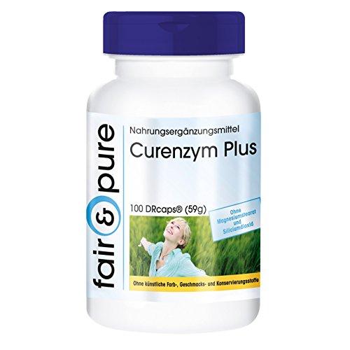Curenzym Plus - Enzym-Komplex mit zeitverzögerter Freisetzung - ohne Magnesiumstearat - 100 DRCaps - enthält Bromelain - Trypsin - Chymotrypsin und Rutosid (Rutin)