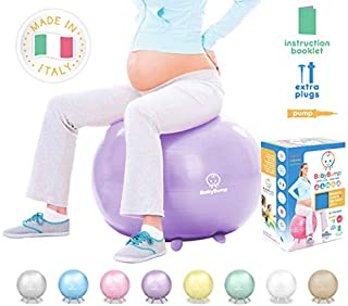 Baby Bump | Birth Ball with Base Legs - Stability/Balance/Stand, Anti-Burst with Pump, Exercise During Pregnancy, Prenatal Fitness, Induces Labor, Soothes Babies - 65 cm