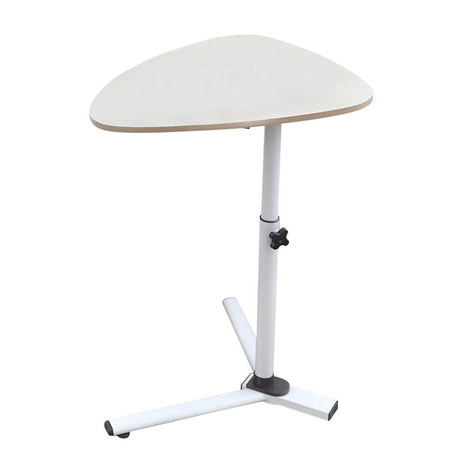 Round Side Table Sofa End Table Mobile Laptop Computer Desk Adjustable Bedside Table Overbed Nightstand Modern Furniture Decor Snack Tray Tables for Living Room Balcony Home Office Bedroom (White)