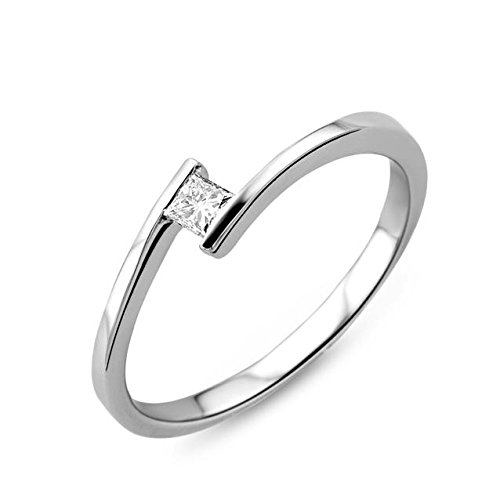 Miore Solitaire H 0.1 carat Diamond 18ct White Gold Engagement Ring - Size L 1/2