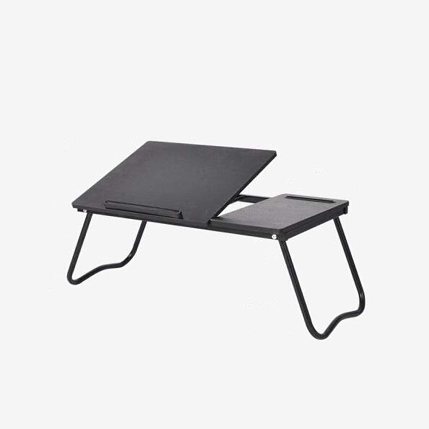 QIDI Laptop Folding Table Wooden for Bed Home Office Study Breakfast Drawing Bedroom (color   Black)
