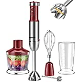 REDMOND 5-in-1 Immersion Hand Blender Multifunctional, 12 Speed Stainless Steel Immersion Stick Blender with Milk Frother, 500ml Chopper, Egg Whisk, 600ml Container, BPA-Free, Red, HB005