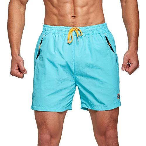 JustSun Badeshorts Herren Badehose Männer Schwimmhose Herren Sommer Schnelltrocknend Boardshorts Beach Shorts mit Kordel Hellblau L