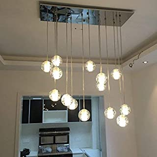 Getop Modern Crystal Chandelier Lights Fixtures Magic Crystal Ball lustres loft stairwell Crystal Light LED Meteor Shower Crystal Lamp (14 Heads Rectangle Base)