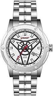 ساعة للرجال بسوار من الستانلس ستيل ومينا بيضاء من كروزر - C7280-GSWB
