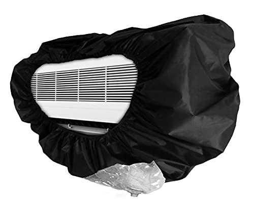 Cubierta de limpieza de aire acondicionado, cubierta de aire acondicionado, cubierta de aire acondicionado para ventanas, color negro, apto para 1 ~ 1,5 P