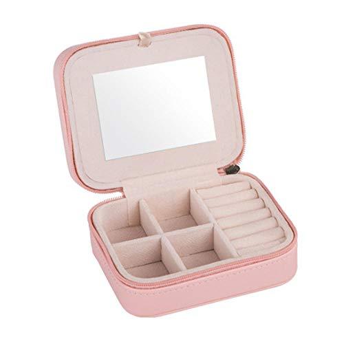 MFM Caja de Almacenamiento de Joyas, Compartimento portátil extraíble con Espejo de Maquillaje, Pendientes y Anillos, Caja de Viaje de Cuero PU de 3 Capas-Rosa Claro