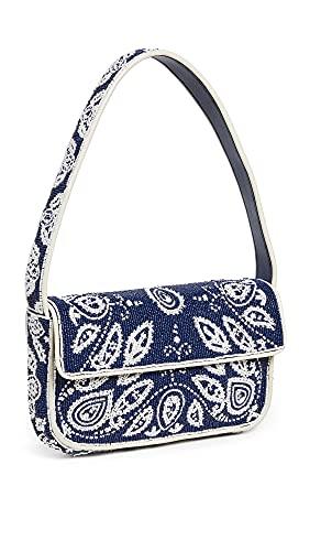 STAUD Women's Tommy Beaded Bag, Blue Bandana, One Size
